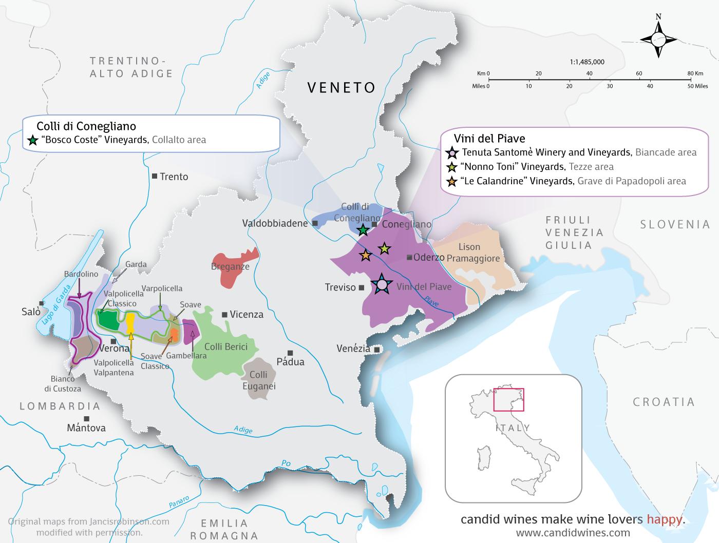 Links boven Verone het  gebied dat vele Valpolicello Classico wijnen voortbrengt