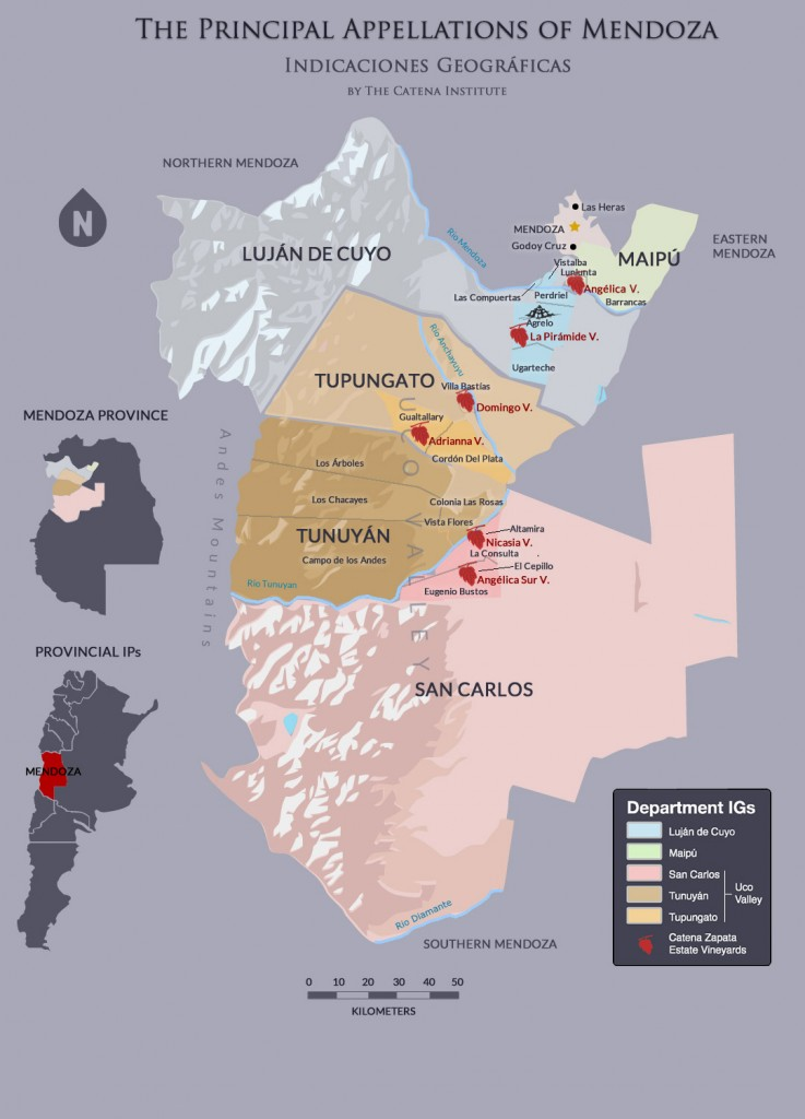 Kaart wijngebieden Catena